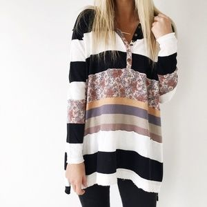 Free People Black and White Stripped Tunic